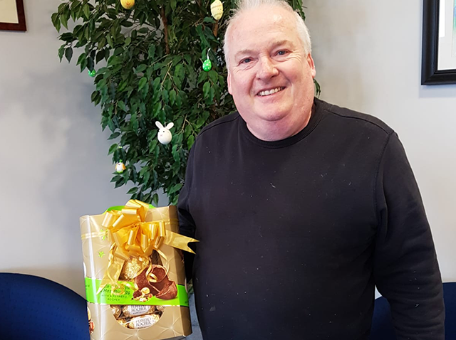 Frank Coll winning our Easter Rafflle