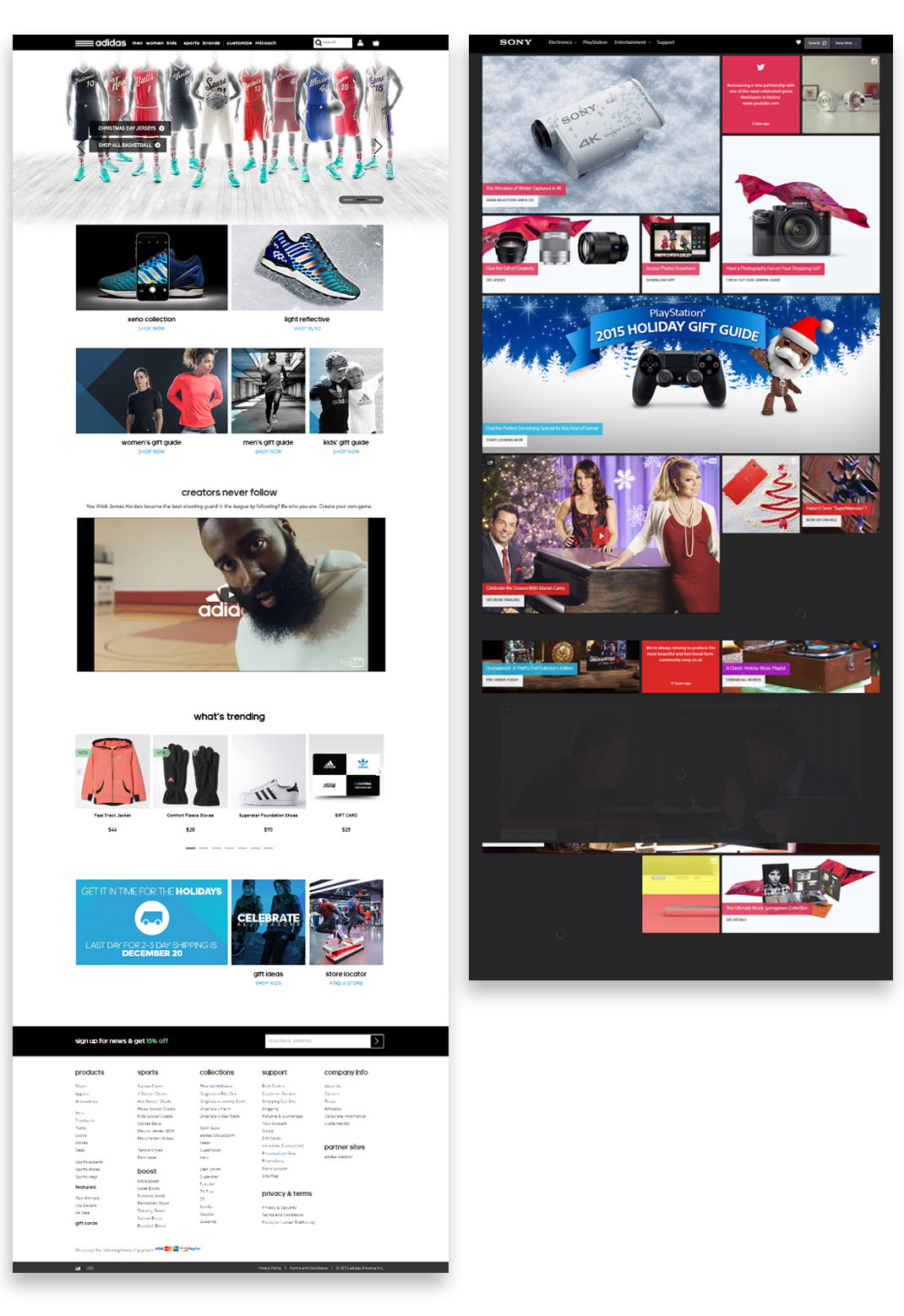 Adidas Home page & Sony